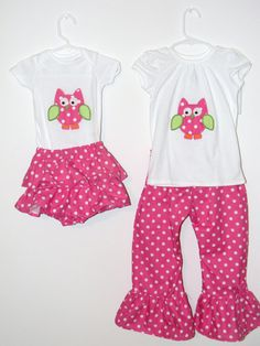Matching sibling applique owl outfits by SewAdorableToo on Etsy, $68.50