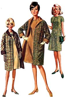 Simplicity 6732 1960s Reversible Coat Dress Sewing by retromonkeys, $15.00