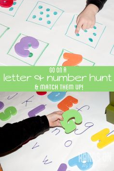 A number and letter scavenger hunt for preschoolers to practice upper and lowercase letters, along with counting while going on a fun scaven...