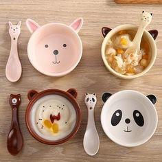 """Kawaii cartoon ceramic bowl spoon set SE9975        Coupon code """"cutekawaii"""" for 10% off"""