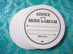 Letterpress Coaster Set - arrow advice bride & groom (set of 30)