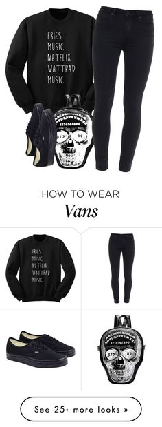 """""""Black."""" by clea69 on Polyvore featuring Paige Denim and Vans"""