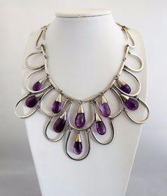 Vintage ANTONIO Mexican Sterling Silver Necklace w Amethyst Stones $2850 #Antonio #Collar