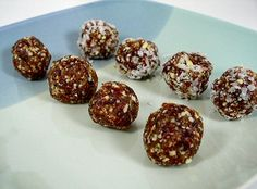 Cherry Date-Nut Balls: Nuts, Flax, Dates, and cherries:This is one of my family's favorite snacks, based on Dr. Fuhrman's Pop-Em's . I love serving treats that are full of healthy fats and contain no refined sugar