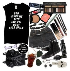 """""""Oops, I did it again, I forgot what I was losing my mind about. I only wrote this down to make you press rewind, and to send a message- I was young and a menace"""" by thelyricsmatter ❤ liked on Polyvore featuring Kat Von D, NYX, Urban Decay, Ray-Ban, Wet n Wild, Miss Selfridge, Converse, Milani, Anastasia Beverly Hills and Too Faced Cosmetics"""