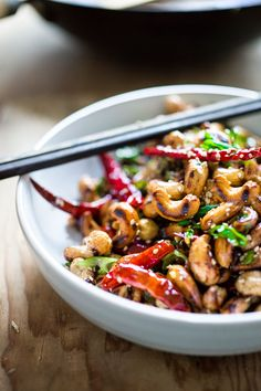 Wok-Seared Cashews with Scallions & Sesame via Feasting at Home #recipe