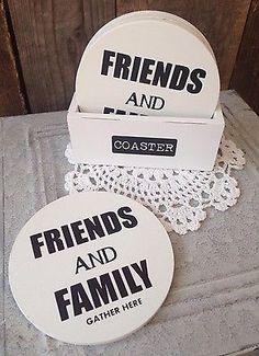 4 Glasuntersetzer Untersetzer Friends and Family Holz Shabby Vintage NEU