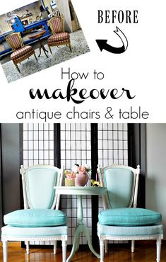How to makeover with chalk paint and new textiles antique chairs and table Chalk Paint Projects, Diy Craft Projects, Fun Crafts, Crafts For Kids, Furniture Makeover, Diy Furniture, Antique Chairs, Diy On A Budget, Table And Chairs