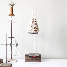 Chemistry home decor DIY - put flowers/plants with colored water in test tubes/small flasks & beads/glass/stones/shells in larger beakers/flasks. Use wire stands and/or chemistry books to adjust height