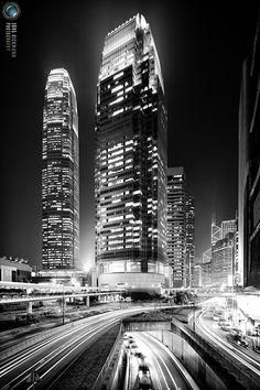 Hong Kong: Glowing Streaks of Light - IFC Towers