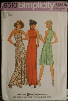 Simplicity 6510 Misses Dress and Halter Dress Vintage 70s Sewing Pattern Sz 10
