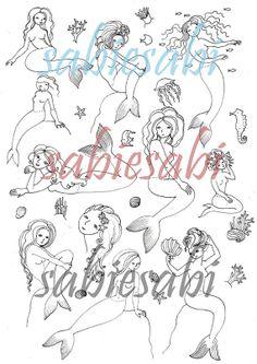 Digital Download Sheet MermaidsPrint It Yourself by sabiesabi, $3.50