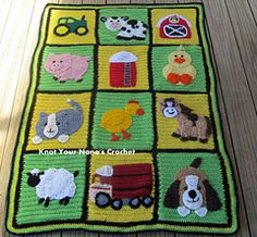 Farm blanket - Light Weight (3) [ Free crochet pattern for blanket only, paid appliques ]