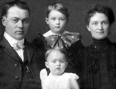 The Ax Murderer Who Got Away - Joe & Sarah Moore, c.1905 with their eldest two children, Herman & Katherine. All four,together with two younger children & two of Katherine's young friends,would die together in June 1912,killed by an unidentified ax-wielding assailant. The unsolved crime remains Iowa's most infamous murder mystery. --Pinned by WhatnotGems.Etsy.com - http://www.smithsonianmag.com/history/the-ax-murderer-who-got-away-117037374/?no-ist=