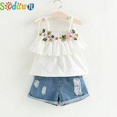 Fashion Girls Clothing Set Summer Baby Girls Clothes White Jacket Flower Decoration+Denim Shorts Children Clothes