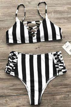 Cupshe Zebra Utopia Stripe Bikini Set