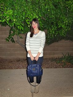 Striped Sweater + Skinny Jeans + Ankle Boots #outfit #style #blog