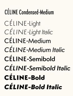 Céline custom typeface by Hannes Famira based on Semplicità (1931), Studio Peter Miles, 2005