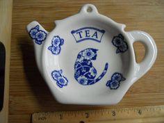 Vintage Tea Bag Holder Teapot Blue Cat Plate by OurBackYard, $5.00