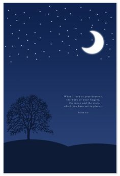 The moon and the stars. Such a wonder to see! This simple design features Psalm from The Bible. Moon And Star Quotes, Moon Quotes, Star Bible Verse, Bible Verses Quotes, Night Sky Stars, Stars And Moon, Mind And Heart Quotes, Stay Wild Moon Child, Look At The Moon