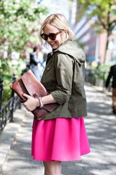 perfect hot pink skirt to brighten up a dreary day