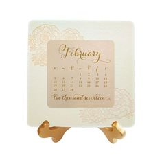 Peony Desk Calendar - Letterpress printed back panel with flat printed monthly cards