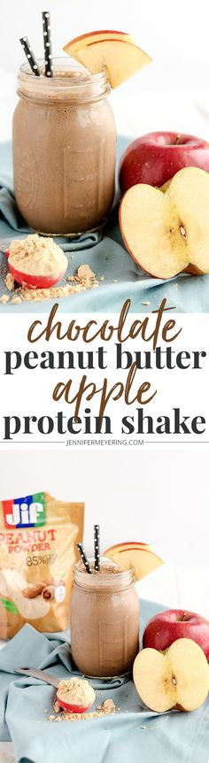 Jif® Peanut Powder to make this tasty Chocolate Peanut Butter Apple Protein Shake!Use Jif® Peanut Powder to make this tasty Chocolate Peanut Butter Apple Protein Shake! Protein Smoothies, Protein Snacks, Pancakes Protein, Smoothie Drinks, Smoothie Recipes, Breakfast Smoothies, Whey Protein, 310 Shake Recipes, Herbalife Shake Recipes