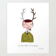 One real antler, one imagined Art Print by Marc Johns | Society6