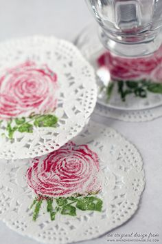 Rubber Stamped Paper Doily Coasters {laminated to be water proof} | an original creation from www.brendasweddingblog.com