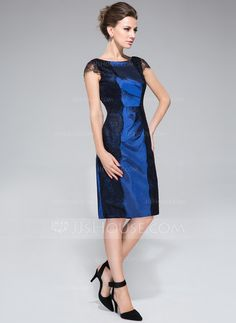 Sheath/Column Scoop Neck Knee-Length Taffeta Mother of the Bride Dress With Ruffle Lace (008040841)