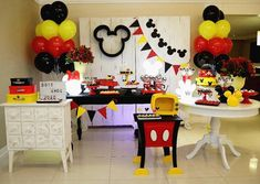 Image may contain: table and indoor Festa Mickey Baby, Minnie Y Mickey Mouse, Fiesta Mickey Mouse, Mickey Mouse First Birthday, Mickey Mouse Clubhouse Birthday Party, Mickey Mouse Parties, Elmo Party, Elmo Birthday, Dinosaur Party