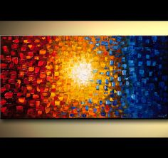 Original abstract art paintings by Osnat - red yellow and blue abstract of small squares