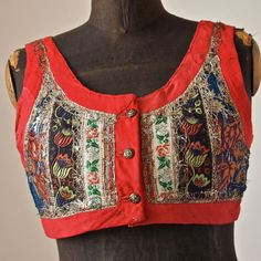 Czech Moravian Antique Gypsy Folk Women's Floral Red and Blue Embroidered Cropped Vest-AS IS Folk Costume, Costumes, Gypsy Style, My Style, Figure Skating Dresses, Brocade Fabric, Beautiful Patterns, Ethical Fashion, Red And Blue