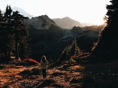 A woman looking at mountain peaks in an autumn setting with trees casting long shadows