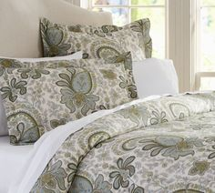 Charlie Paisley Organic Duvet Cover & Sham - Blue... I.want.these.sheets. {Pottery Barn}