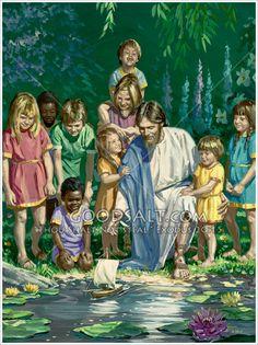 Jesus in heaven with children.