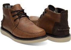 Brown Leather Waterproof Men's Chukka Boots   TOMS