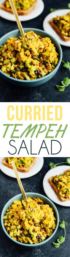 The BEST Curried Tempeh Salad // This flavorful and filling plant-based curried tempeh salad is perfect for spreading on bread for a hearty sandwich, adding to a wrap or serving over crisp greens. Vegan and gluten-free.