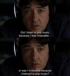 Find images and videos about john cusack and high fidelity on We Heart It - the app to get lost in what you love. High Fidelity Quotes, We Heart It, Breakup Songs, Bon Film, Favorite Movie Quotes, Movie Lines, Tv Quotes, Sarcasm Quotes, Cultura Pop