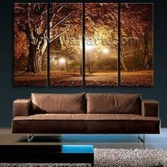 Fall wall art is a great way to elevate the look of your  home. Whether it be colorful fall leaves, cute orange pumpkins or beautiful  cornucopias. You can effortlessly make  your home fall worthy by using several pieces of #autumn wall décor throughout  your home. Do this with fall wall art,  fall wall wreathes, fall wall clocks and even fall canvas art to create a warm  and inviting #fall paradise.      Extra Large Wall Art HD Picture Print Canvas Modern Autumn Landscape