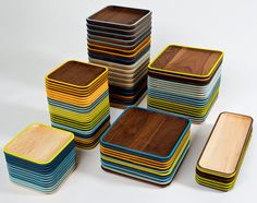 Wud Plates are a series of solid wood plates designed by David Rasmussen that were inspired by Danish modern design. Available in maple or walnut and in four sizes, the plates come with a vibrantly colored edge and scooped center. Finished to be food-safe so they will last a lifetime.
