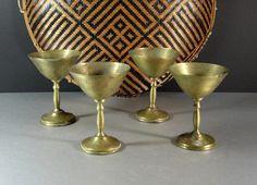 Brass Wedding Champagne Goblets / Martini Glasses by UBlinkItsGone
