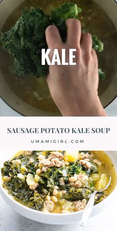 This hearty, nutrient-dense sausage, potato, and kale soup with navy beans does double duty as comfort food and an immune-boosting one-pot meal. It makes a nice big batch that keeps (and freezes) well. Sausage Potato Kale Soup, Kale And Bean Soup, Beans And Sausage, Potato Soup, Navy Bean Soup, Kale Soup Recipes, Healthy Potatoes, Cooking Recipes, Healthy Recipes