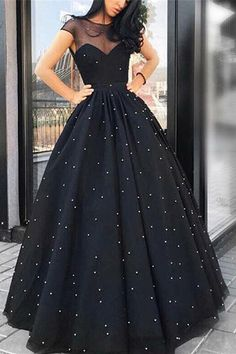 Beading Cap Sleeves Ball Gown Scoop Evening Dress 2019 black super fine cotton prices Rs buy for contact whats app Black Prom Dresses, Ball Dresses, Elegant Dresses, Pretty Dresses, Sexy Dresses, Beautiful Dresses, Girls Dresses, Formal Dresses, Black Ball Gowns