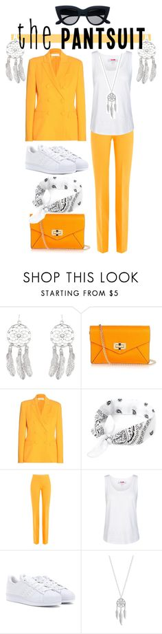 """Orange & White"" by drinkdionysus ❤ liked on Polyvore featuring New Look, Diane Von Furstenberg, Altuzarra, Victoria, Victoria Beckham, adidas, Lucky Brand and thepantsuit"