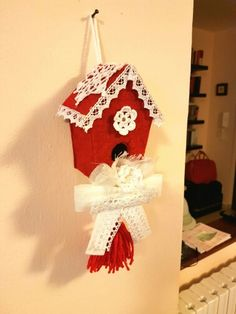 Christmas red birdhouse shabby chic