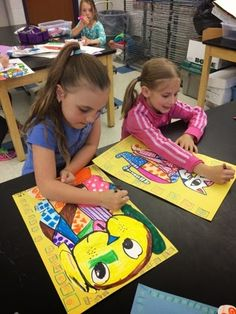 First grade artist learned about the life and art of Romero Brito by looking at a slide show and youtube videos about him.   Clic...