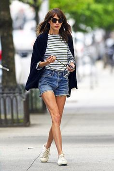 40 Of Alexa Chung Best Looks With Denim Shorts // cat-eye sunglasses, cape blazer, striped tee, jean cut-offs & sneakers #style #fashion #celebrity
