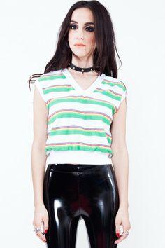 Stripe Terrycloth Crop Top - XS/S/M