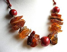 Red Coral Baltic Amber Necklace Genuine Baltic Amber Red by KARUBA, $117.45